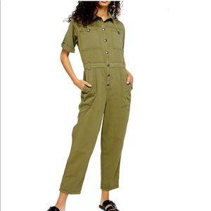 TOPSHOP Olive Boiler Utilitarian Jumpsuit Size 12